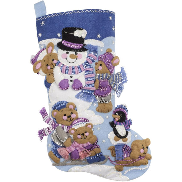 Playing in the Snow, Christmas Felt Appliqué Stocking Kit, 18