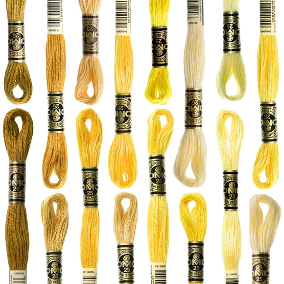 DMC 6 Strand Cotton Embroidery Floss yellows and golds