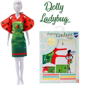 barbie clothes sewing kit lady bug dress red and green kids sewing kit