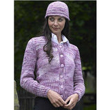 woman wearing a buttoned up cardigan  in shades of lilac, lavender and white