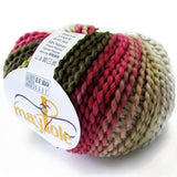Maypole Yarn one ball in Olive Green, Burgundy Pink, Tan and White with a black thread boucle