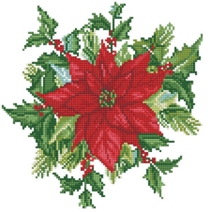 image of a poinsettia design surrounded by leaves and holly on a white background. the design of the poinsettia and leaves is made up of small faceted diamond gems in different colors to create a shimmer work of art.
