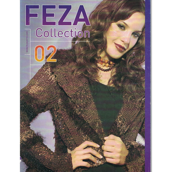 cover of feza collection 02 with a woman wearing a knitted brown cardigan with stripes of funky textural yarn