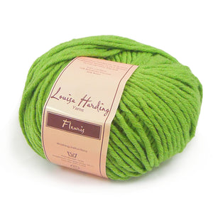 image of louisa hardings fleuris yarn in bright cherry red its a solid color yarn in a blend of bamboo and wool fibers