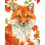pixelated design of a fox surrounded by leaves staring at the viewer. the background is white to indicate that no diamonds are to be placed there
