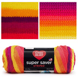 image of self striping yarn fruity stripes super saver stripes showing the skein in the bottom of the image and knitted and crocheted swatch on the top. the colors are shades of yellow orange purple and reds