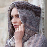 gedifra yarns soffio colore knitted hood with lattice pattern