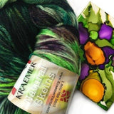 indie dyer green gold sock yarn knit socks