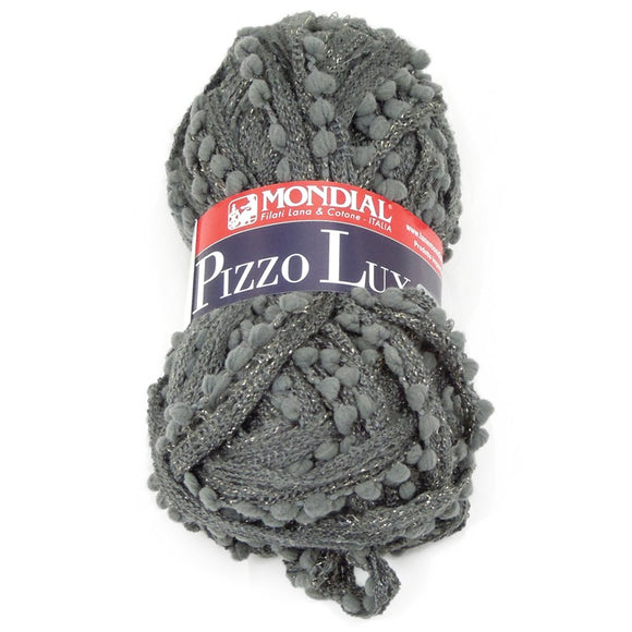 on skein of mondial's pizzo lux ruffling yarn with metallic fibers and squishy baubles along one edge fo the mesh. the color of the yarn is a solid gunmetal grey.