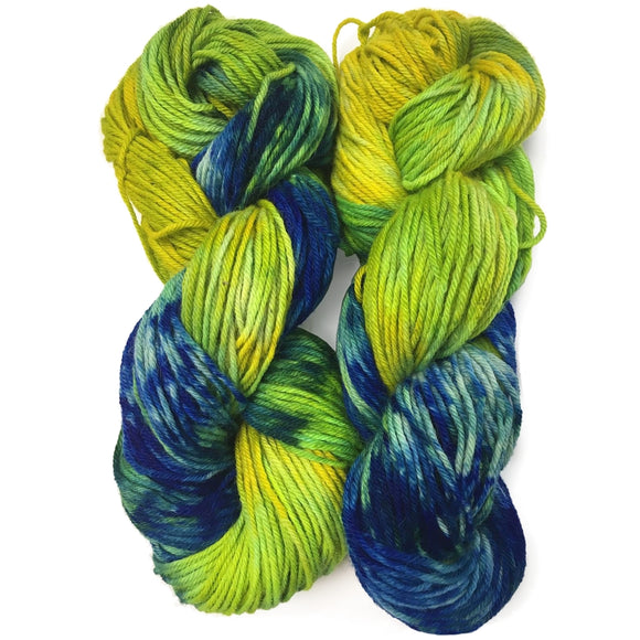 hand dyed yarn yellow and blue worsted weight