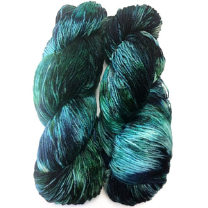 hand dyed sock yarn stormy seas