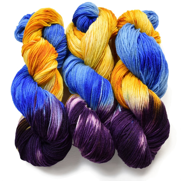 Carribean Party Hand-Painted Sock Yarn, Purple, Gold, Sky Blue