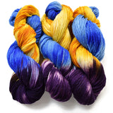 hand painted yarn purple blue yellow