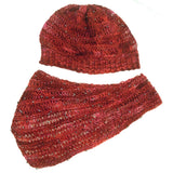 loom knit hat with beads sock weight red