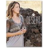 cover of high desert knitting pattern book by jennifer thompson with a woman standing wearing a sideway knit lace cardigan in grey stone colors of the desert