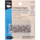 image showing a 14 pack of dritz hooks and eyes for sewing into garments they are size 3  which makes them a bit larger. the pack includes 14 hooks and 7 curved eyes and 7 straight eyes