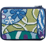 Alice petersons company, stitch and zip coin purse, beginner needlepoint coin purse kit, abstract imari pattern