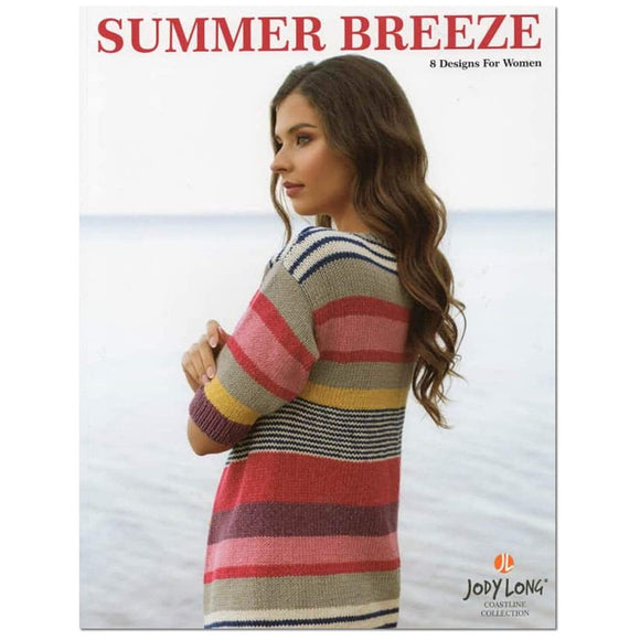 cover of jody long's summer breeze knitting pattern book features a brunette woman wearing a colorful stripes long cardigan with half length sleeves