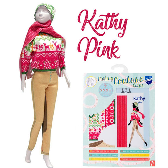 kids sewing fashion design kit sew an outfit for your barbie Kathy Pink- pants sweater and scarf