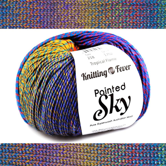 image of a ball oy knitting fevers painted sky yarn in colors tropical fever, the top an bottom of the image show the yarn knitted up and how the colors gradually blend together in shades of gold blue and purple