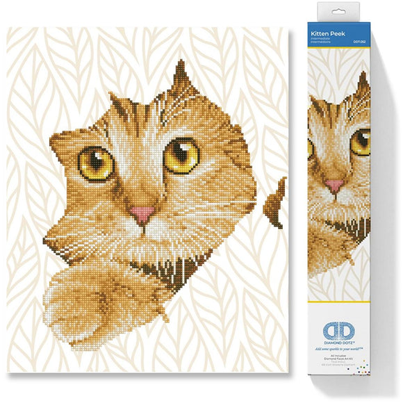 image of a cat face made up of tiny shimmering diamonds poking its head out through a piece of wrapping paper with gold leaf design the cat is ginger with intense golden eyes