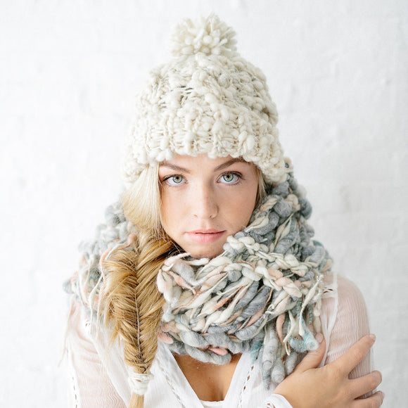 Snow Bunny Cabled Beanie by Knit Collage