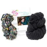 knit collage dash scarf knitting kit charcoal heather psychedelic grey
