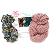 knit collage dash scarf knitting kit dusty pink psychedelic grey