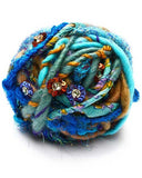blue hand spun yarn with flowers rolling stone morning glory