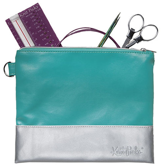 knit picks teal zippered pouch