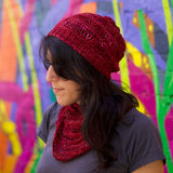 knitting loom pattern for hat and cowl with beads