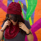 sock weight loom knitting pattern hat and cowl with fine gauge