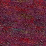 knitted swatch of lana gatto's belleveu yarn looks like a  low pile rug in colorway burgundy 8835 a background of burgundy with pops of red blue and tan