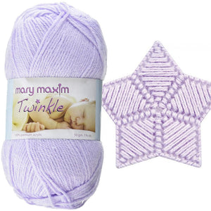 a pile fo mary maxim twinkle yarn in lightweight fingering yarn solid pastel colors of pink yellow lilac purple and soft green
