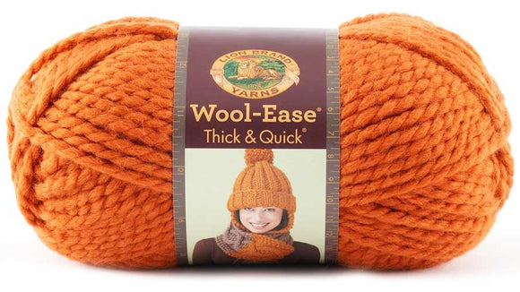 lion brand yarn wool ease thick & quick pumpkin