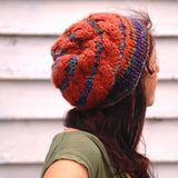 loom knit hat sideways cables