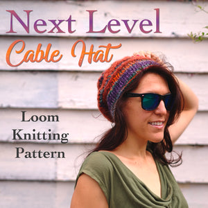 loom knitting patternf or cabled hat
