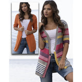 composite image of the same woman wearing 2 versions of an open knit cardigan. its thigh length, with sleeves the go to the elbow. one version is striped with lots of different color changes and the other version is made in one solid orange color