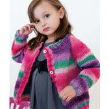 little girl wearing a pink, purple and green cardigan with four buttons. quick knit bulky knitted cardigan