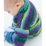 close up a baby wearing a sweater shown from looking down on the left shoulder. The sweater has horizontal stripes of lime green, sly blue, purple, and forest green