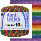 one ball of aunt lydias crochet thread size 10 in self striping colors of  mexicana multi stripes with yellow, blue, green, purple, red- all the colors of the rainbow