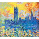 a pixelated vision of monet's london parliament in winter. the sky is fiery shades of yellow orange an red, which is reflected off the turbulent surface of the thames. The shadowy silhouette of londons parliament building looms in the background