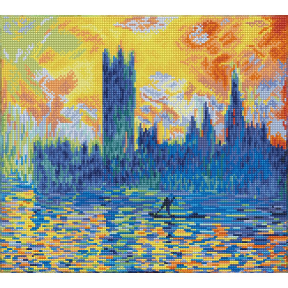 image of monets london parliament in winter recreated in glistening diamond dotz the image looks like the sky is ablaze with dancing flames of orange and yellow which glistens off the dark blue grey water. the silhouette of londons parlaiment building looms in gloomy shades of blue grey