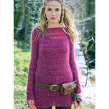munro sweater knitting pattern from Louisa Harding's Wildspur Knitting Patterns book long sweater dress with long sleeves knit in mauve purple