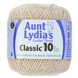 one ball of aunt lydias crochet thread size 10 in  natural off white colorway