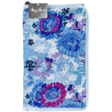 fabric knitting needle case roll up with tie blue watercolors