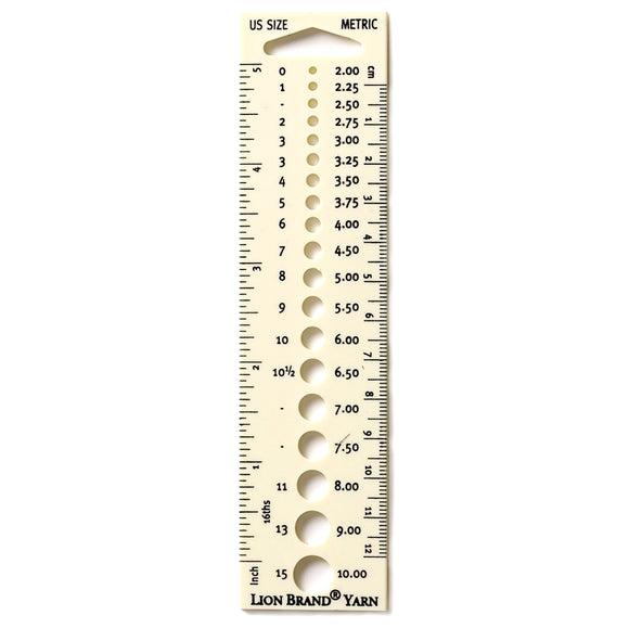 knitting needle gauge lion brand swatch ruler