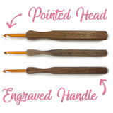 three pointed head kollage square crochet hooks are laying horizontally with their engrave handles showing their size facing us. Labels at the top and bottom of the image say 'pointed head' and 'engraved handle'