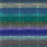knitted swatch of noro tsubame self striping yarn, featuring stripes of bright cobalt blues, rich sea greens, seaweed green, sky blue and even smatterings of yellow