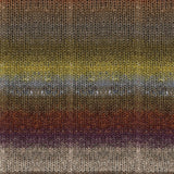 knitted swatch of self striping noro tsubame japanese yarnin hues of earthy browns from dark russet to purple burgundy to light brown desert sands with subtle blends of yellow and blue